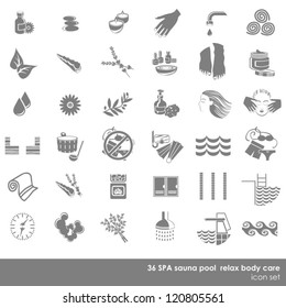 36 spa sauna pool relax body care monochrome isolated icon set on white background