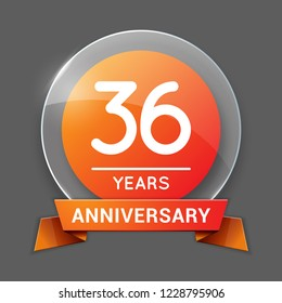 36 / Thirty Six Years Anniversary Logo with Glass Emblem Isolated. 36th Celebration. Editable Vector Illustration.