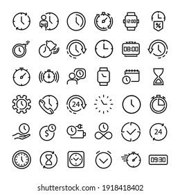 36 Time icon vector illustration. Alarm, hourglass, stopwatch, timer sign in outline style