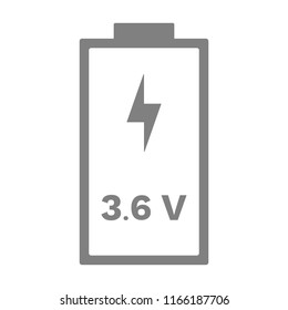 3.6 or 3,6 volt li-ion battery icon. Vector.