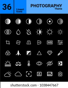 36 White Thin Line Photography-Themed icon set