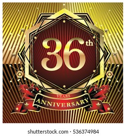 36 years anniversary logo celebration with ring and ribbon. Symbol and template for greeting card