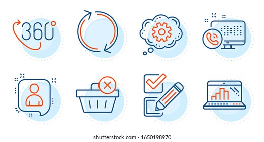 360 degree, Developers chat and Checkbox signs. Delete purchase, Refresh and Graph laptop line icons set. Cogwheel, Web call symbols. Remove from basket, Rotation. Business set. Vector