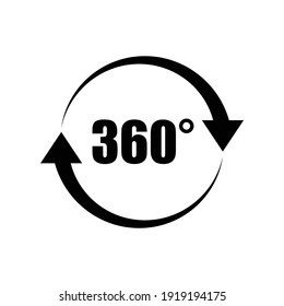 360 degree icon design, rotation symbol. isolated on white background