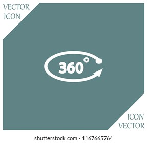 360 degree icon on a grey flat button