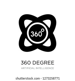 360 degree icon vector on white background, 360 degree trendy filled icons from Artificial intelligence collection, 360 degree simple element illustration