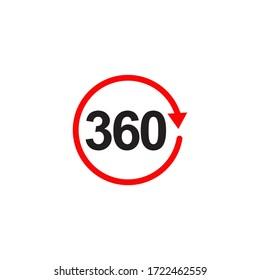360 degree icon view logo design vector template