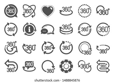 360 degree icons. Rotate arrow, VR panoramic simulation and augmented reality. 360 degree virtual gaming, abstract geometry, full rotation view icons. Vr tour, game reality. Quality set. Vector