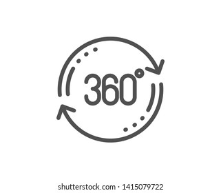 360 degree line icon. Full rotation sign. VR technology simulation symbol. Quality design element. Linear style full rotation icon. Editable stroke. Vector