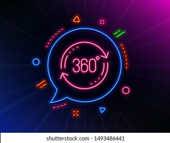 360 degree line icon. Neon laser lights. Full rotation sign. VR technology simulation symbol. Glow laser speech bubble. Neon lights chat bubble. Banner badge with full rotation icon. Vector