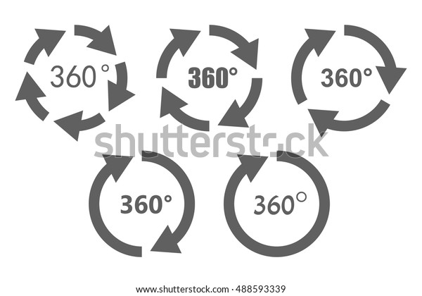 360 Degree Overview Arrow Icon Set Stock Vector (Royalty
