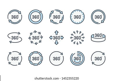 360 degree related color line icon set. 360 view colorful linear icons. Panorama view flat color outline vector sign collection.