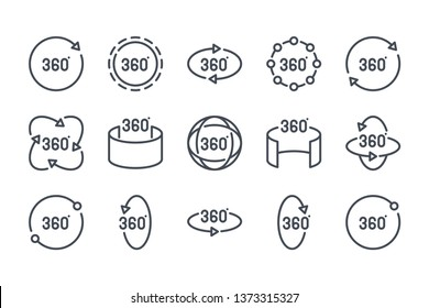 360 degree related line icon set. 360 view linear icons. Panorama view outline vector sign collection.