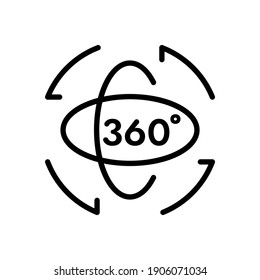 360 degree and rotation outline icon, Vector and Illustration.
