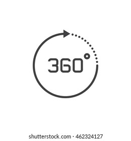 360 degree view sign. vector icon, solid logo illustration, pictogram isolated on white