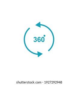 360 degree view. simple illustration. mobile concept app icon and web design. Editable stroke. Design template vector