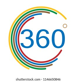 360 degrees angle sign on white background. flat style. angle 360 degrees icon symbol for your web site design, logo, app, UI. 360 degrees angle sign.