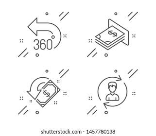 360 degrees, Cashback and Atm money line icons set. Human resources sign. Full rotation, Receive money, Dollar currency. Update profile. Business set. Line 360 degrees outline icon. Vector