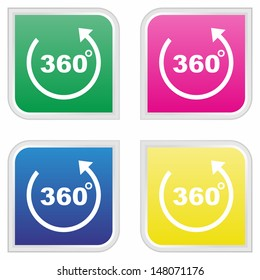 360 degrees icon - Colorful button set