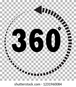 360 degrees icon on transparent background. flat style. 360 degrees sign. rotate 360 degress icon for your web site design, logo, app, UI. angle 360 degree symbol.