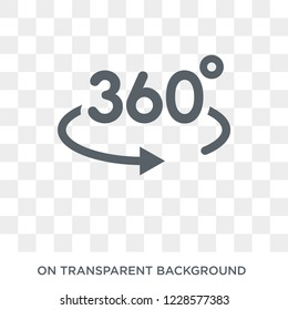 360 degrees icon. Trendy flat vector 360 degrees icon on transparent background from Artificial Intelligence, Future Technology collection.