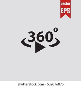 360 degrees icon in trendy isolated on grey background.Vector illustration.