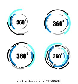 360 degrees icons set isolated on white background. Abstract logotype design concept with colorful lines