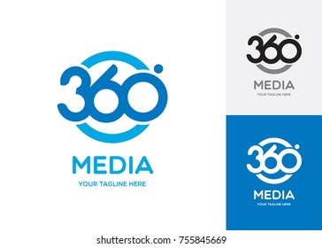 360 degrees media vector logo