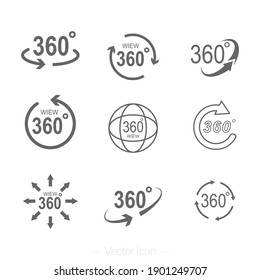 360 degrees rotating virtual reality set icons. VR view icon. Isolated vector illustration.