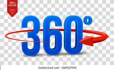 360 degrees sign. 3d isometric Angle 360 degrees view icon isolated on transparent background. Virtual reality. Geometry math symbol. Vector illustration.