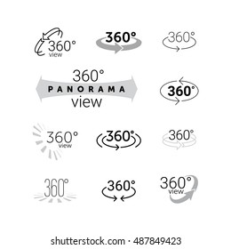 360 degrees view icon. Vector line 360 degrees panorama camera view symbol set. Rotation arrows