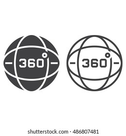360 degrees view line icon, globe outline and solid vector sign, linear and full pictogram isolated on white, logo illustration