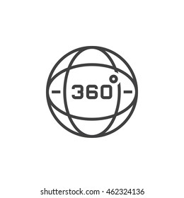 360 degrees view sign, globe line icon, outline vector logo illustration, linear pictogram isolated on white