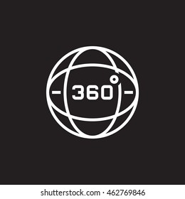 360 degrees view sign, globe line icon, outline vector logo illustration, linear pictogram isolated on black