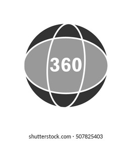 360 degrees view sign, globe line icon, outline vector logo