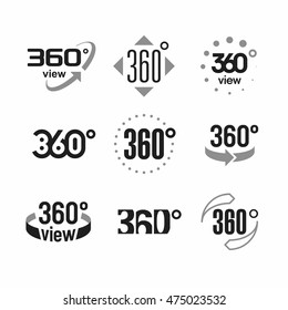 360 degrees view sign, icons set. Vector illustration.