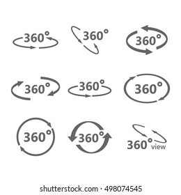 360 Degrees View Vector Icon.