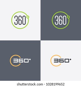360 degrees view vector icons for virtual reality, video and panoramic images