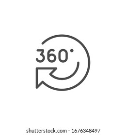 360 rotation line outline modern icon