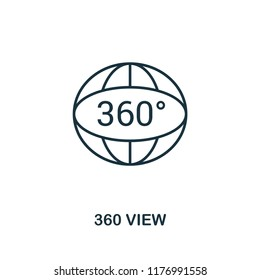 360 View icon. Monochrome style design from visual device collection. UI. Pixel perfect simple pictogram 360 view icon. Web design, apps, software, print usage.