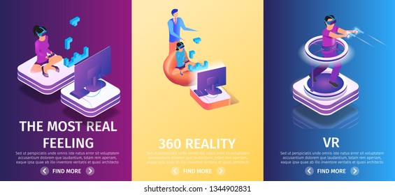 360 Virtual Augmented Reality Vertical Banners Set on Gradient Background, Copy Space. Gaming People. Man Playing Video Game in Glasses Run and Shoot with Guns. 3d Flat Vector Isometric Illustration