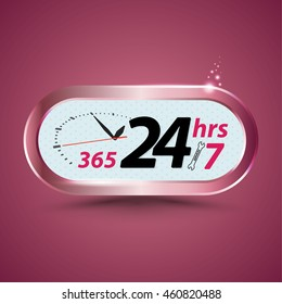 365 24hrs /7 open  customer service with clock. Vector illustration.