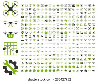 365 air drone and quadcopter tool icons. Icon set style: flat vector bicolor images, eco green and gray symbols, isolated on a white background.