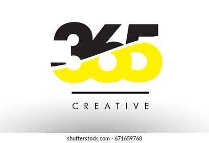 365 Black and Yellow Number Logo Design cut in half.