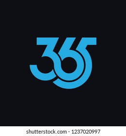 365 logo icon design vector with dark background