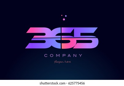 365 pink blue purple number digit numeral dots creative company logo vector icon design template