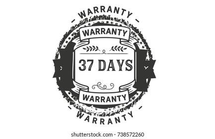 37 days warranty icon vintage rubber stamp guarantee