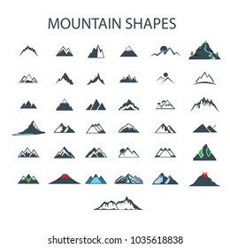 37 mountain shapes drawing low poly vector  tree , river , forest , volcano Big set of mountain icons isolated on white background. Design elements for logo, label, emblem, sign. Vector illustration