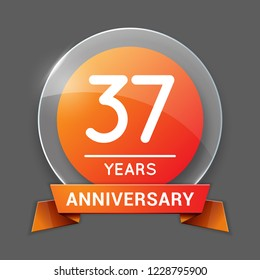 37 / Thirty Seven Years Anniversary Logo with Glass Emblem Isolated. 37th Celebration. Editable Vector Illustration.