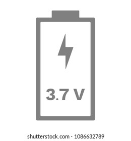 3.7 volt battery icon. Vector.